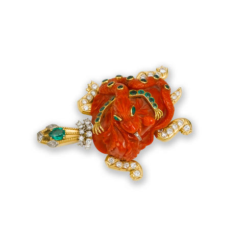 A coral, diamond and emerald tortoise brooch, by Cartier,