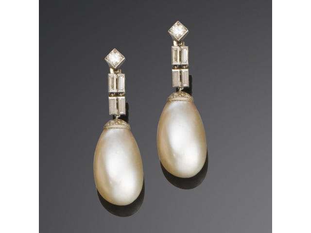A pair of art deco natural pearl and diamond pendent earrings,