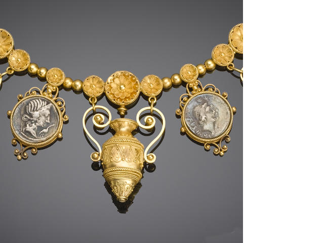 An archaeological revival gold necklace,