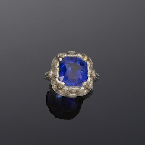 An art deco sapphire single-stone ring, probably by Bulgari,
