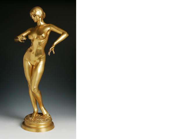 A late 19th century gilt bronze of a female nudeSigned A. Falguiere