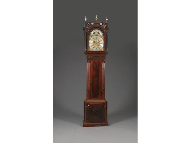 A fine George III mahogany-cased 8-day brass-dial longcase clock with moon phase William Barker, Wigan, (active 1754-1787) sold with two weights, pendulum, key and winder