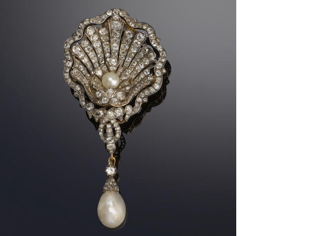 A late 19th century diamond and pearl shell brooch,
