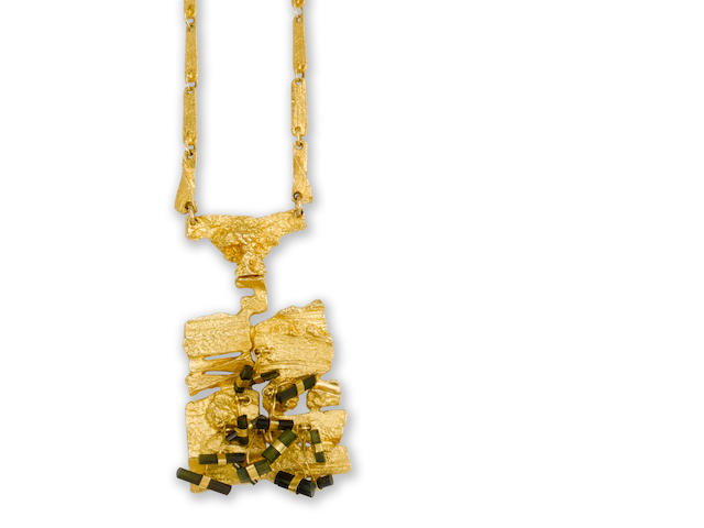 A gold and tourmaline `Flowering Wall` pendant, by Björn Weckström for Lapponia,