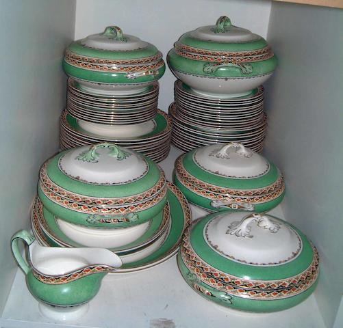 A part Burslem dinner service including five tureens, 60 pieces