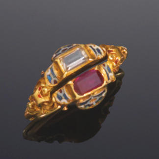A gold, enamel and gem-set gimmal ring,