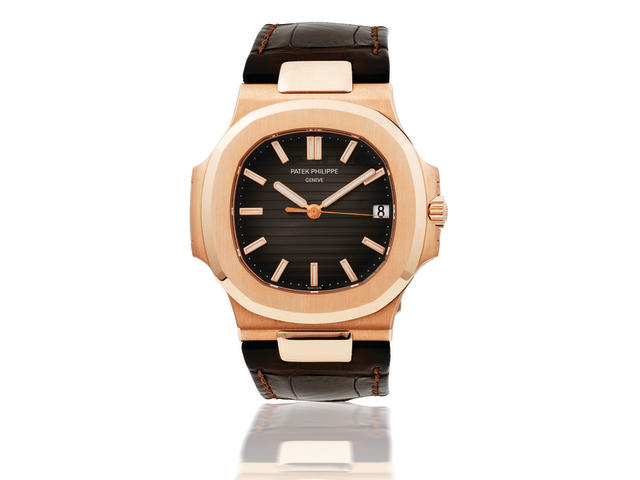 Patek Philippe. A fine 18ct rose gold automatic wristwatch with dateNautilus, Ref:5711R-001, Case number 3619383 / 4426520, Made in 2007