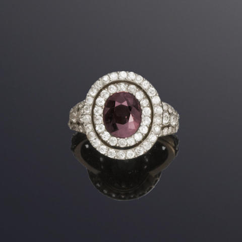 An early 20th century alexandrite and diamond cluster ring,