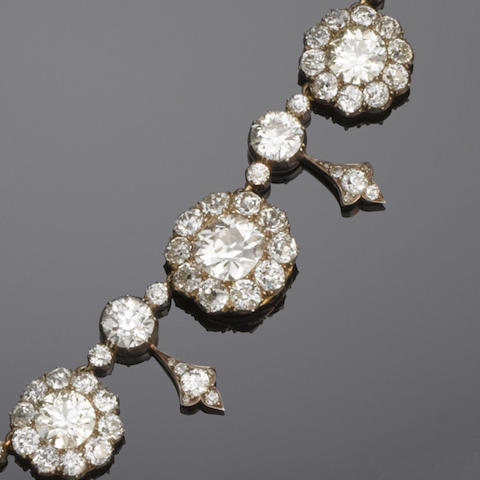 A late 19th century diamond necklace,