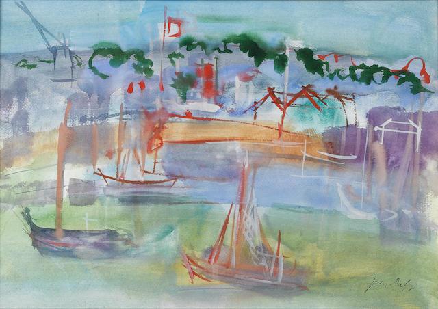 Jean Dufy (French, 1888-1964) Le Port de Rouen 33 x 50 cm (13 x 19 3/4 in)