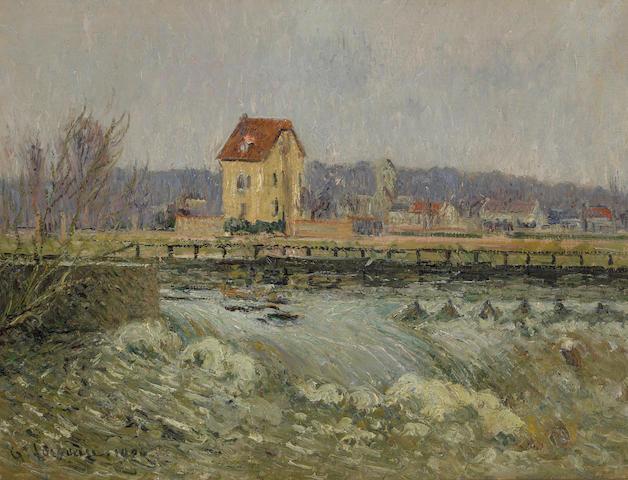 Gustave Loiseau (French, 1865-1935) Barrage a Pontoise 46 x 61 cm (18 x 24 in)