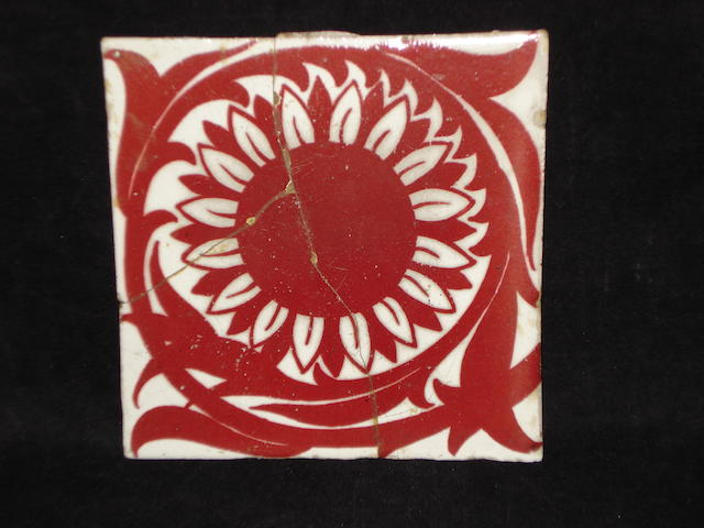 A lustre tile attributed to William de Morgan