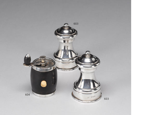 An Edwardian silver mounted wood  pepper grinder, by J. Grinsell & Sons, Birmingham 1903 and a quantity of other items. (Qty)