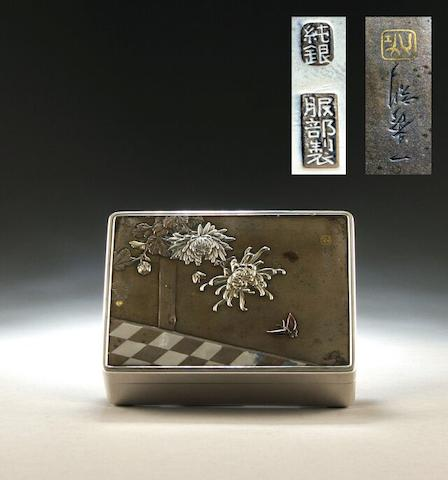 A Japanese mixed metals rectangular cigarette box bearing character marks, circa 1930/40