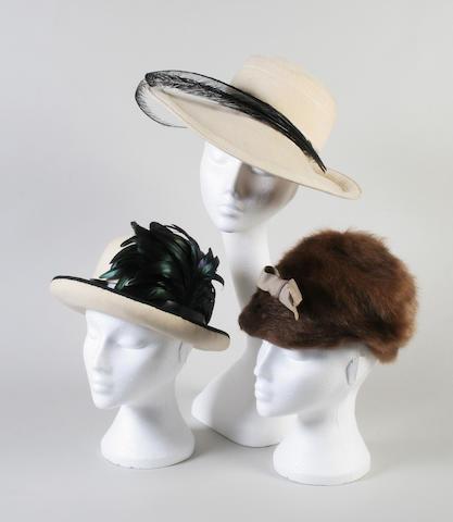 A cream felt Christian Dior hat