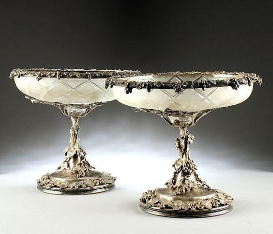 A pair Victorian cut glass and electro-plated dessert stands by Elkington & Co., circa 1860