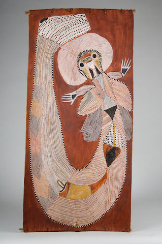 Peter Maralwenga (c. 1916-1987) UNTITLED (ANIMAL SPIRIT) 104 x 48cm