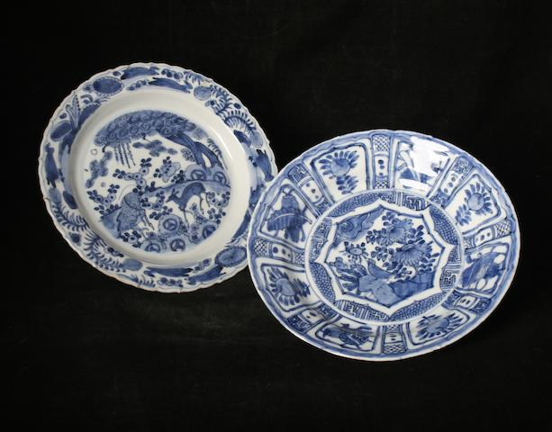 A Chinese blue and white plate, possibly Wanli