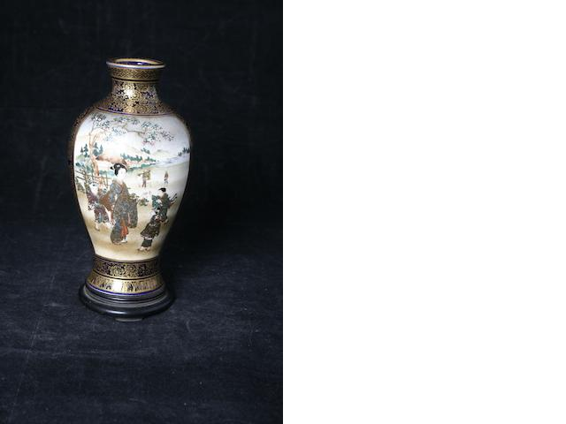A small Japanese  Satsuma earthenware vase, Meiji period