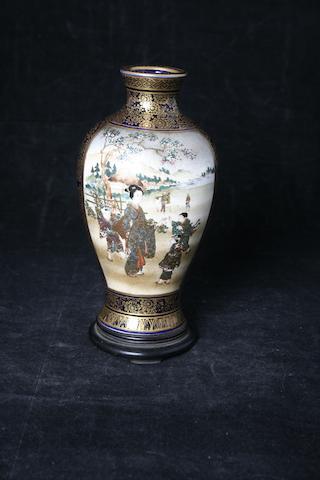 A small Japanese  Satsuma earthenware vase, Meiji period