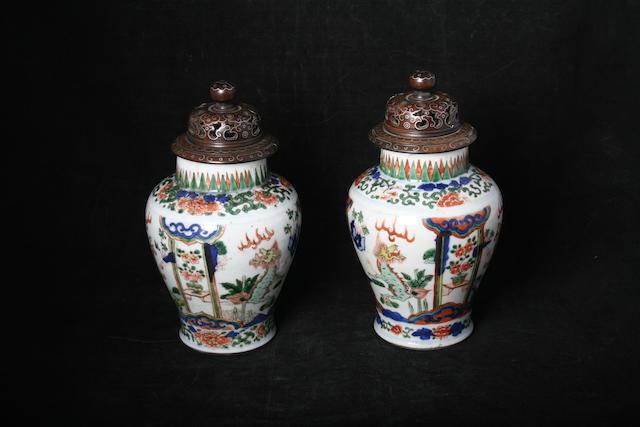 A pair of famille verte vases, Qianlong