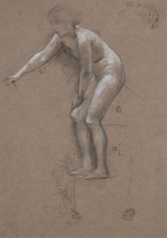 Sir Edward John Poynter, PRA RWS (1836-1919) Study of a female nude