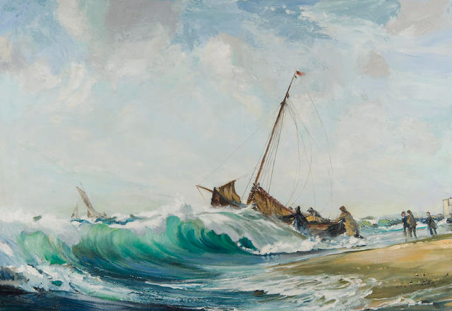 Leslie Arthur Wilcox (British, 1904-1982) Fishing boat setting out to sea,