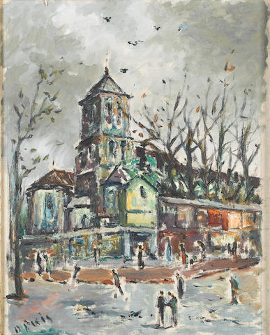 Filippo de Pisis (Italian, 1896-1956) In the Church Square 51 x 42 cm (20 x 16 1/2 in)