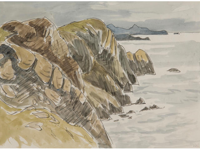 Sir Kyffin Williams, R.A. (British, 1918-2006) Coastal landscape