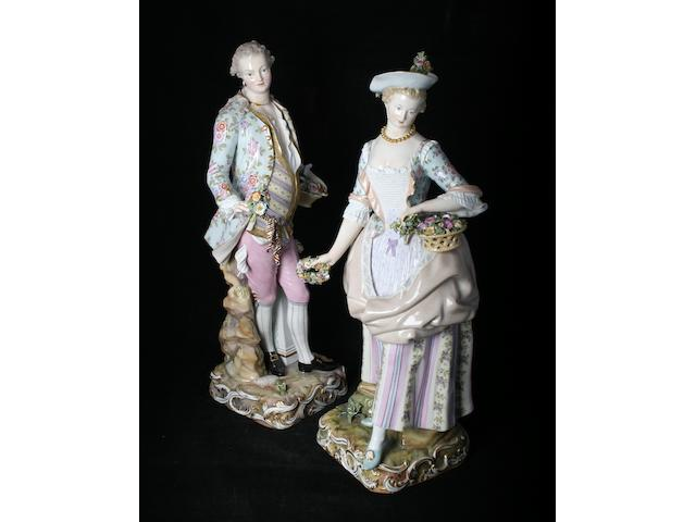 A large pair of Meissen porcelain figures, 19th Century