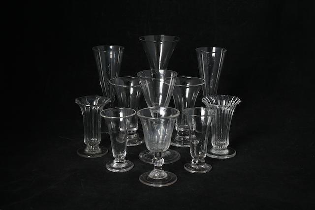 An English plain stem wine glass, 1740-1750