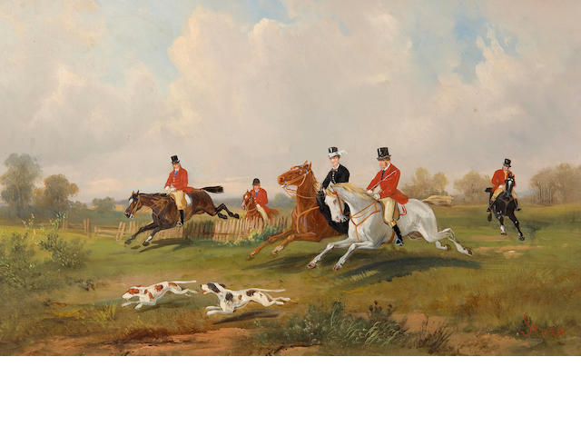 Robert Stone (British, active 1900) Hunting scenes a pair,