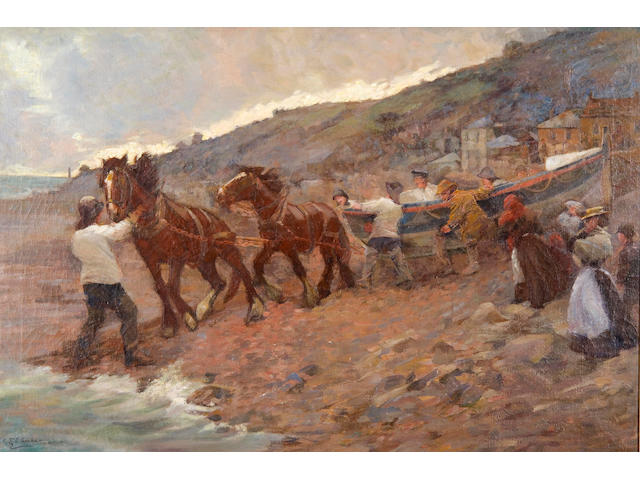 Caroline St. C. Graham (British, active 1908-1913) 'Launching the lifeboat, Penzance'