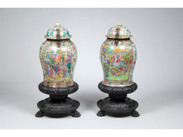 A pair of Cantonese storage jars and covers
