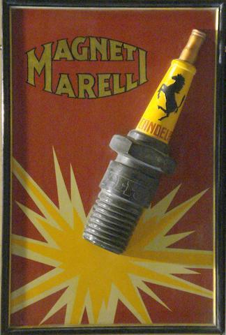A Magneti Morelli Ferrari spark plug promotional sign,