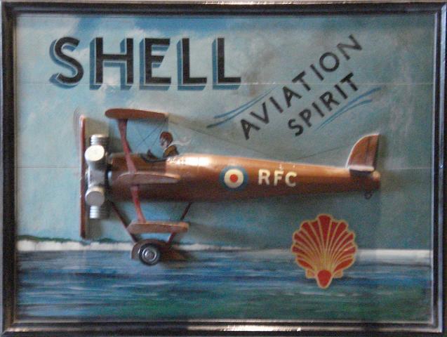 A Shell Aviation spirit promotional board,