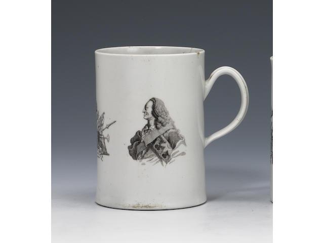 A large Worcester George II mug circa 1759-60