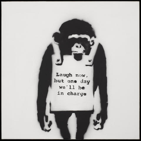 Banksy (British, born 1975) 'Laugh now, but one day we will be in charge', 2002