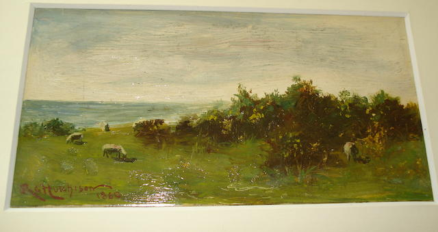 Robert Gemmell Hutchison, RSA RBA ROI RSW (British, 1855-1936) Sheep grazing on the coast