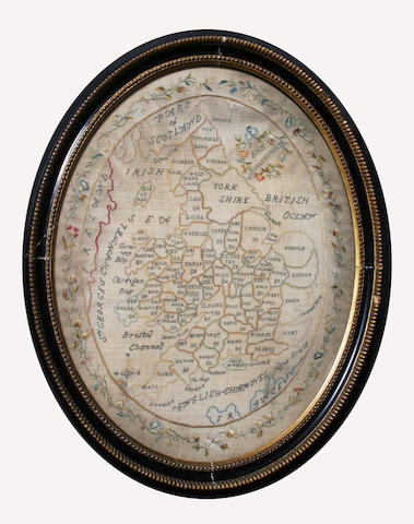 A late 18th/early 19th century oval needlework map