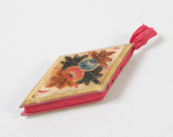 A Regency painted velvet pincushion of diamond form