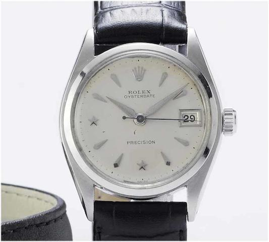 Rolex. A stainless steel centre seconds calendar wristwatch with star dial Oyster date, Ref:6066, 1953