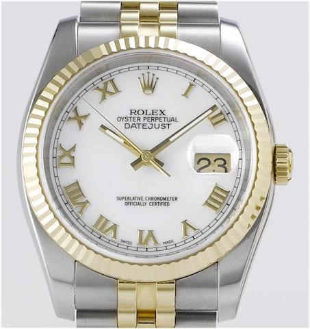 Rolex. A stainless steel and gold centre seconds calendar bracelet watch with fitted box and papers Datejust, Ref:2080, Sold 22nd February 2005