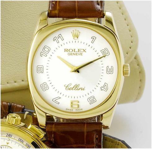 Rolex. An 18ct gold manual wind wristwatchRef:4233, Cellini, 2001