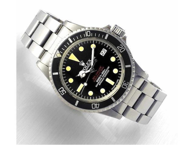 "Rolex. A fine and rare stainless steel automatic wristwatch with gas-escape valve, date and the original stainless steel Oyster bracelet Ref:1665 ""Double-Red Sea-Dweller "" Case No.4135193, circa 1974, Sold on the 11th of October 1976"