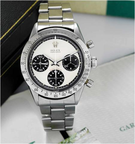 "Rolex. A fine and rare stainless steel chronograph wristwatch together with original Rolex guarantee, fitted box and instructions Cosmograph Daytona, ""Paul Newman"", Ref.6262/6263, Circa 1970, Sold September 1976"