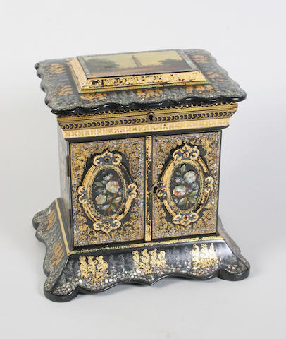 A good Victorian papier-mache table casket fitted for sewing