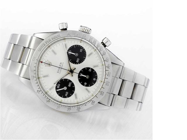 Rolex. A fine and rare stainless steel chronograph wristwatch Ref:6239, 'Cosmograph' circa 1964