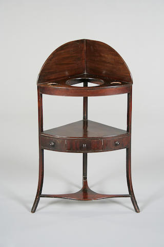 A 19th Century mahogany corner wash-stand,
