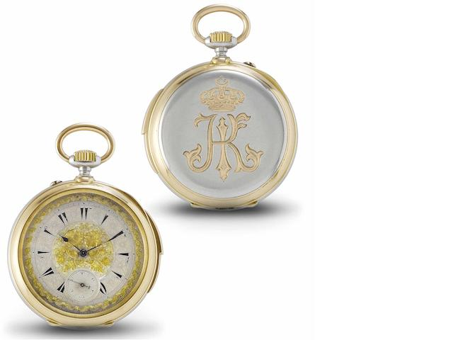 Girard Perregaux. A fine and extremely rare late 19th century 18ct rose gold and silver cased full hunter minute repeating pocket watch bearing the Egyptian Khedival Crown and believed to be a special commission watch  Case No.109141, circa 1870